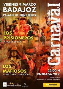 Cartel actuación Los Mafiosos y Los Prisioneros en Badajoz