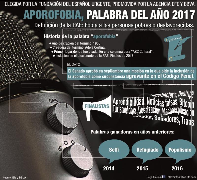 """GRAF2873. MADRID, 29/12/2017.- Detalle de la infografía de la Agencia EFE """"Aporofobia, palabra del año 2017"""" disponible en http://infografias.efe.com. EFE/"""