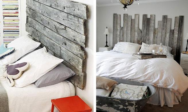 Cabeceros de cama con tablas de madera