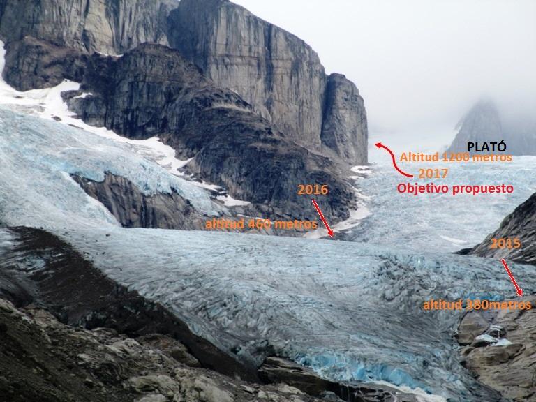 Itinerario más seguro de ascenso por la roca pulida, hasta la entrada para poder acceder al campo de hielo.