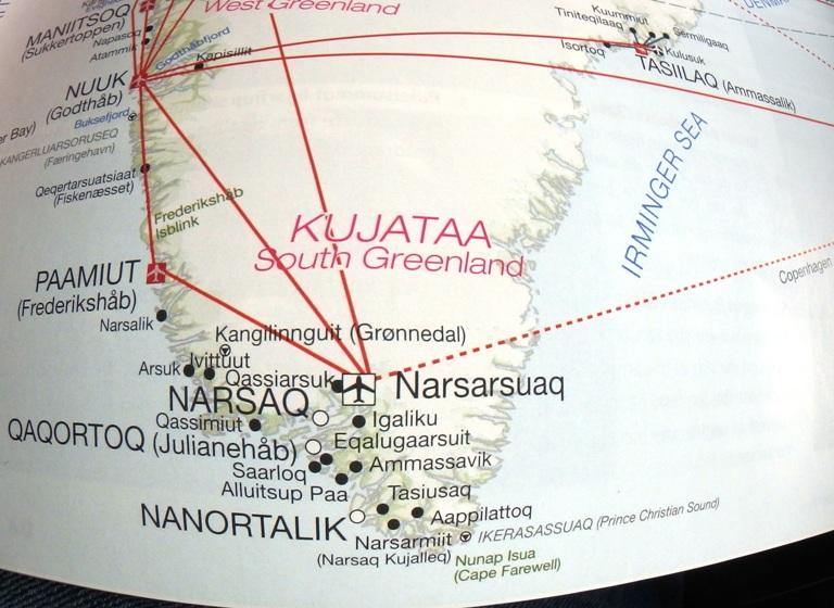 Plan de vuelo, aterrizaremos en el pequeño aeropuerto internacional de Narsarsuaq