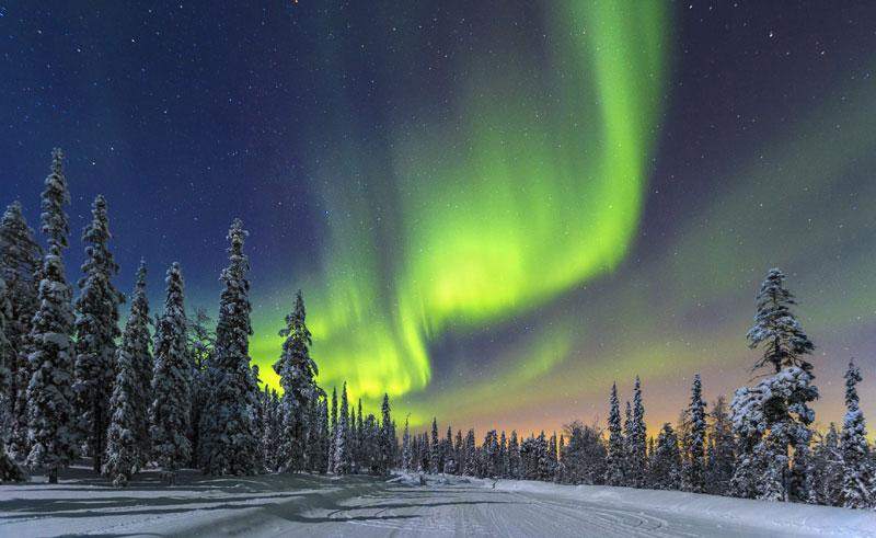 Aurora boreal sobre la Laponia