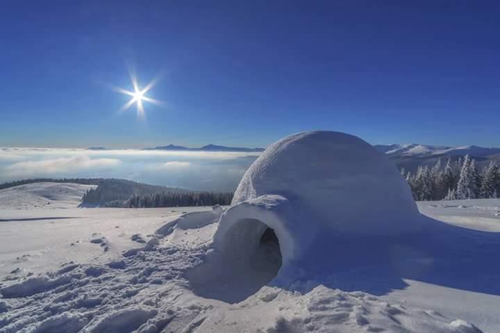 El igloo o refugio de fortuna, usado desde hace más de 4500 años por los primeros pobladores de las regiones árticas llamados inuit. En la actualidad se enseñan a construirlos en cursos de supervivencia en montaña y expediciones a los casquetes polares. Foto de internet.