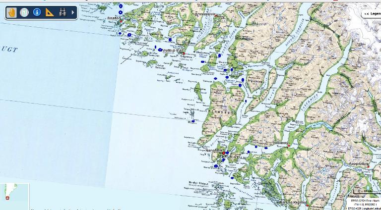 Marcado en color azul, podéis ver los avistamientos que hemos echo  durante los meses de verano en el sur de Groenlandia.