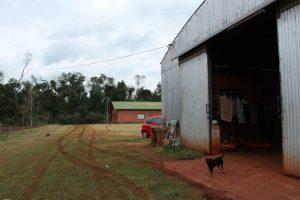 El hangar donde están las cabañas y Lisa, la perrita guardiana.